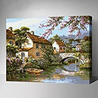 MADE4U Paint By Numbers Combination Kits of 3 Canvases Mounted on Wood Frame with Brushes and Paints for Adults Children Seniors Junior DIY Beginner Lever Acrylics Painting Kits on Canvas