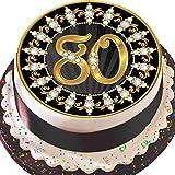 Vorgestanzte, essbare Dekorations-Zuckergussfolie, runder Tortenaufsatz mit ca. 19 cm Durchmesser, schwarz und gold, 80. Geburtstag Z05