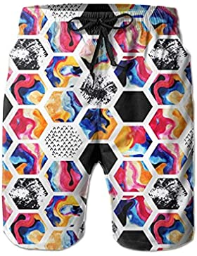 Funny Caps Abstract Hexagon Pattern Men's/Boys Casual Swim Trunks Short Elastic Waist Beach Pants with Pockets