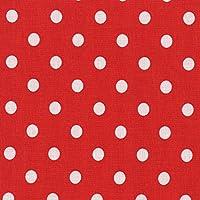 Tela algodón rojo con lunares blancos 8 mm, por 0,5 metros