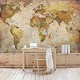 Hochwertige Vliestapete,Wandbild im Querformat, Tapeten-Wandbild, XXL-Fotostrecke, 3D-Tapete, Wandschmuck für Schlafzimmer und Wohnzimmer, Maße (Höhe x Breite):255 cm x 384 cm; Motiv:Weltkarte