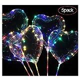 AOLVO 5Pcs Globos de Corazón Led Luz 18 Pulgadas para Fiesta de Cumpleaños, Boda, Pedir la Mano