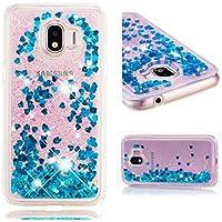BONROY Handyhülle,Cover TPU Bumper Silikon Flüssigkeit Treibsand Clear Schutzhülle für Case Samsung Galaxy J2 Pro 2018 Handy Hüllen-(Blau)