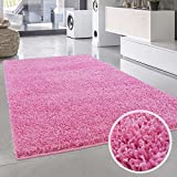 Shaggy-Teppich, Flauschiger Hochflor Wohn-Teppich, Einfarbig/Uni in Pink für Wohnzimmer, Schlafzimmmer, Kinderzimmer, Esszimmer, Größe: Läufer 80 x 150 cm