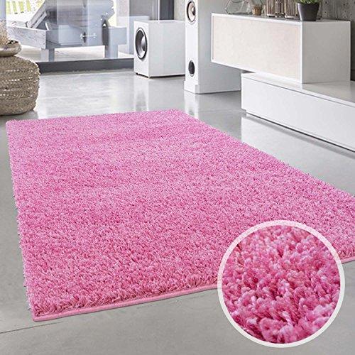 Shaggy-Teppich, Flauschiger Hochflor Wohn-Teppich, Einfarbig/ Uni in Pink für Wohnzimmer, Schlafzimmmer, Kinderzimmer, Esszimmer, Größe:...