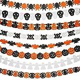 8 Pezzi Halloween Ghirlanda di Carta Bandiera Decorazione, Fantasma, Zucca, Bat, Cranio, Zucca con Foglia, Ragnatela, Testa del Fantasma, Figura del Ragno