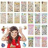 YOTINO 20 Feuilles Stickers en Relief pour Tatouages Temporaires Enfants, Autocollants 3D Animaux Lettres Poisson Fleurs Voiture pour Garçons et Filles (1000+)