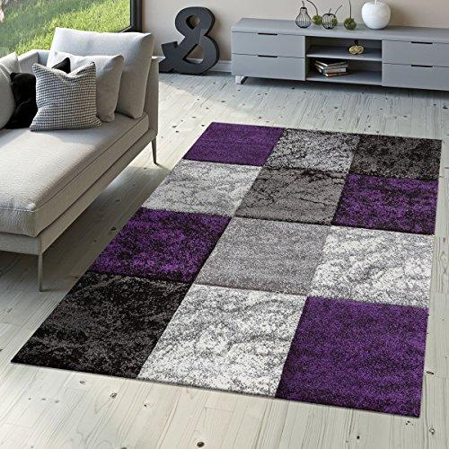 T&T Design Designer Teppich Valencia Modern mit Marmor Optik Kariert Meliert Lila Grau Weiß, Größe:160x230 cm
