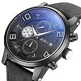 Herren Sport Uhren Quarz Chronograph Wasserdicht Uhren Mode Business Casual Design Leder Armbanduhr