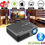 WXGA LED HD Proyector Inalámbrico Bluetooth HDMI Smart LCD Android6.0 Proyector de Video WiFi 4200 lúmenes 1080P Multimedia HDMI USB VGA AV Audio Airplay para iPhone iPad Mac Laptop TV DVD Xbox