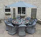 Luxus grau Rattan Gartenmöbel 8Sitz Runde Esstisch mit Sonnenschirm