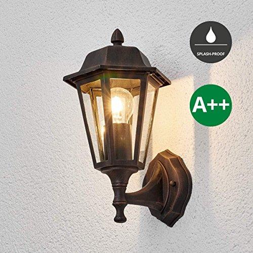 Lampenwelt Wandleuchte außen 'Lamina' (spritzwassergeschützt) (Retro, Vintage, Antik) in Braun aus...
