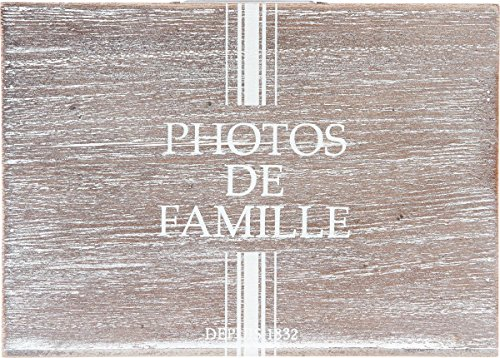 Meilleure offre de prix Album photos boite de rangement – Esprit Champêtre – Coloris BOIS Patiné BLANC