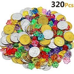 Akrcheft 320 Stück Goldmünzen des Piratenschatz Spielzeugs und Piraten Schmucksteine Set, Schätze für die Piraten-Partys (160 Münzen +160 Strasssteine)