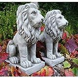Stolzer Löwe/Löwenpaar von Onefold, Gartenornament aus Kunststein, Statue, Skulptur
