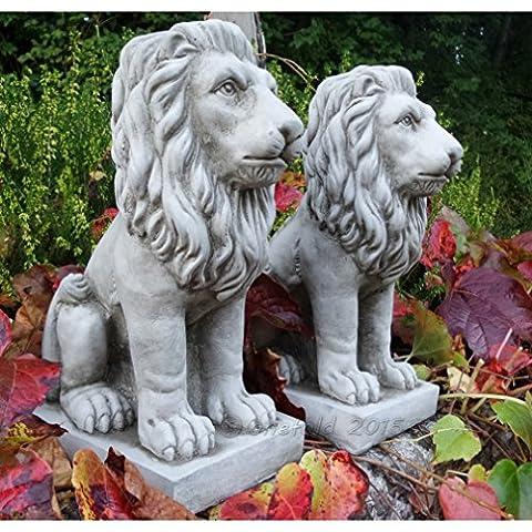 ONEFOLD - PROUD LION / LIONS PAIR CAST STONE GARDEN