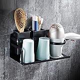 GuoEY Die Inhaber der Fön Retro schwarz Aluminium der Raum von einem Hair-Dryer, Badezimmer Fön Zubehör für Bad Regalböden