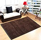 #8: Yellow Weaves Brown Feather Touch Carpet - 3 X 5 Ft