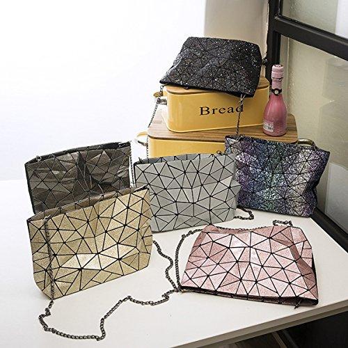 flada damen schultertaschen geometrischen teilen gemeinsame karierten handtaschen für frauen - glanz diamond gitter kreuz leichensäcke hologramm schwarz