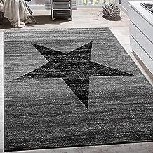 Alfombra De Diseño Con Estampado Moderno De Estrella De Velour Corto Mezclada En Gris Y Negro, tamaño:60x100 cm