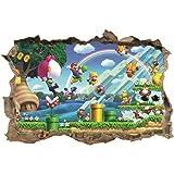 SJXWOL Cartoon sticker Muurstickers Super Mario Kids Sticker 3D Decal Slaapkamer Mario Muur Art Muurschildering 55x60cm