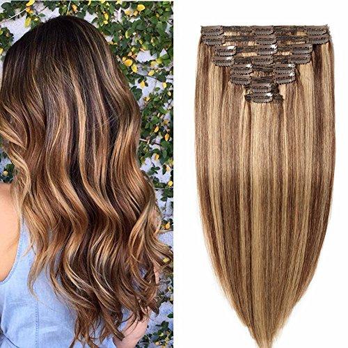 50cm extension capelli veri clip meches doppia tessitura double volume lunga 20