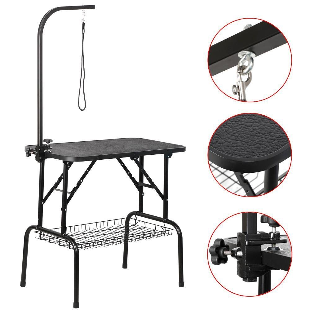 Yaheetech Foldable Pet Dog Grooming Table with Adjustable Arm Dog Cat Beauty Trimming W/Loop Noose Arm Maximum Capacity Up to 100KG, 153cm