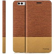 Custodia Huawei P10 (VTR-L09) Cover Flip Wallet [Zanasta Designs] Case Copertura con Portafoglio - Pieghevole con Porta Carte, Alta Qualità | Rosso marrone