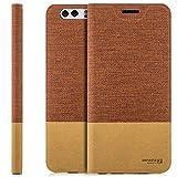 Zanasta Designs Tasche Huawei Nova Plus (MLA-L11) Hülle Flip Case Slim Schutzhülle Handytasche mit Kartenfach, Standfunktion | Rotbraun