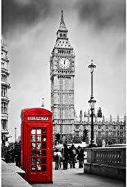 Pitaara Box Red Telephone Booth & Big Ben in London England UK D2 Canvas Painting MDF Frame 16 X 24Inch
