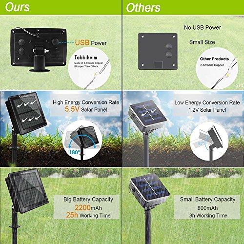 Tobbiheim Solar Lichterkette mit USB Ladung 20 LED Laterne 5 Meter Lampions Super Lange Beleuchtungszeit Wasserdicht IP68 Outdoor Garten Außenbeleuchtung mit 2M Zuleitung – Warmweiß - 5