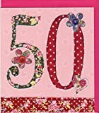"""Pigment Productions Originelle Grusskarte zum 50. Geburtstag - veredelt durch Prägung und Glitter mit farbigem Umschlag im Format 16x18cm Innendruck """"Happy Birthday"""" ZB733"""