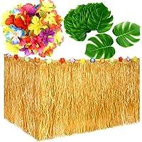 KUUQA Luau hawaiana hierba tabla falda y 48 piezas artificial Palma tropical Monstera hojas hibisco flores para Aloha Tiki Jungle Moana tema tropical fiesta de cumpleaños decoraciones ideas suministros