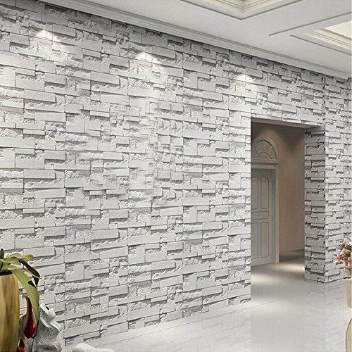 Hnzzn 3d vinile stampato in rilievo murale di sfondo papel de parede moderno in mattoni di pietra impermeabile pvc rivestimento parete carta soggiorno home decor, 53cm x 10m