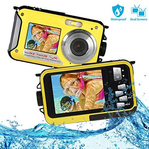 Unterwasserkamera FHD 1080P Kamera Unterwasser 24MP wasserdichte Kamera Selfie Dual Screen 16X Digital Zoom Digitalkamera wasserdichte zum Schnorcheln