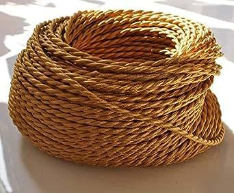 DECL-186-LIGHTSTYL - Cable éléctrique textile vintage torsadé Doré - 5 Metres