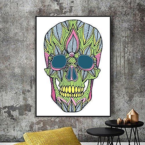 VICKY-HOHO Technicolor Hallowmas Schädel Leinwand Druck Poster Wand Aufkleber Home Dekoration -