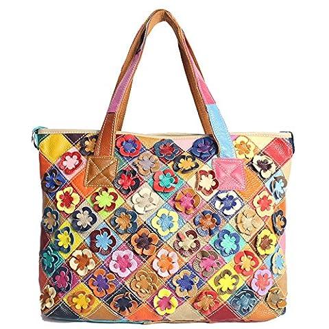 WANGWO High Quality Womens Genuine Cowhide Leather Handbag Flowers Pattern Knits Bag