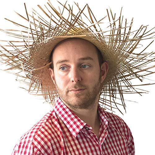 PARTY DISCOUNT ® Großer Stroh-Hut, naturfarben, ausgefranst