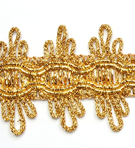 Metallisiertes Zierband Länge 3,0 m / Breite 36 mm / Farbe Gold / Posamentenborte Brokatborten Dekoborte Bordüre Brokat Lurex Goldborte...