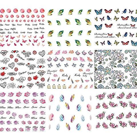 Vococal® 50 Blatt DIY Wassertransfer Maniküre Nagelsticker - Nagelaufkleber Nail Abziehbild Dekoration Kunst - Nagelschablonen Fingernagel Sticker Werkzeug, Zufällige Stil