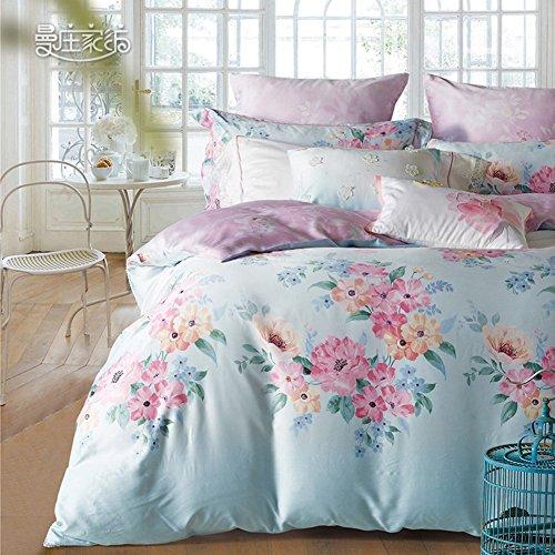 Stile rustico Tencel fiore modello Set di biancheria da letto Mescolanza/miscele/filato misto(1Copripiumini 1Lenzuola 2Federe)-A (Filato Satin Stampe)