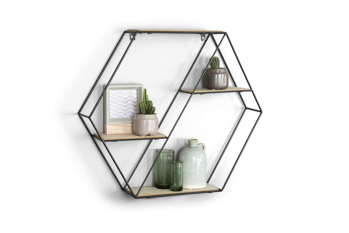 Lifa Living Hexagon Vintage Wandregal Aus Holz Und Metall Schwarz