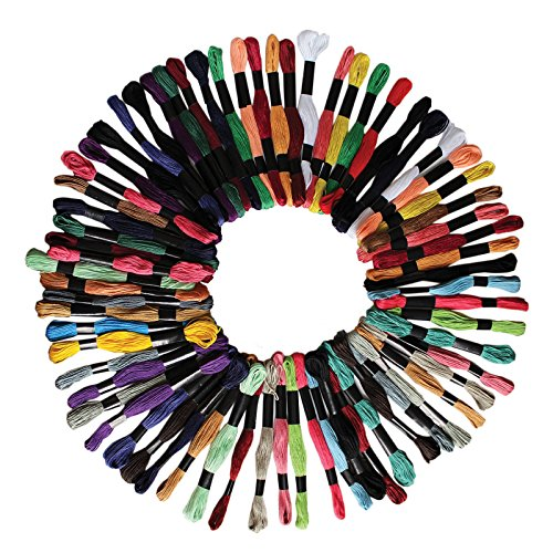 100 Stück von 8m Baumwoll-Garn Faden Zum Nähen Sticken von Curtzy - Sortiertes Farben Set - Ideal für Kreuzstich, Stricken, Sicken, Künste und Handwerke - Große Auswahl an Verschiedenen Strängen