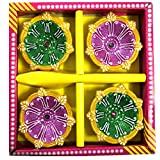 Mersk Handmade Decorative Diwali Diya In Multi Color Set Of 4 Pieces.