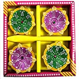 Pacific Handmade Decorative Diwali Diya in Multi Color Set of 4 Pieces.