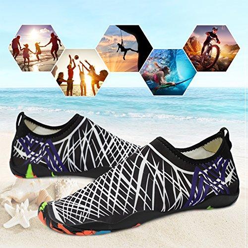 KEALUX Männer Frauen Barfuß Quick-Dry Wassersport Schuhe Multifunktionale Turnschuhe mit Drainage Löcher für Schwimmen, Walking, Yoga, See, Strand, Garten, Park, Fahren, Bootfahren Schwarz&Weiß