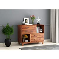 Woodstage Sheesham Wood Chest of 4 Storage Drawers and 2 Shelf for Home Living Room Hall (Honey Finish)