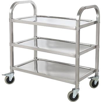 HLC 75 * 40 * 83.5 cm Edelstahl Küchenwagen Rollwagen Badwagen Haushaltswagen mit 3 Ebene