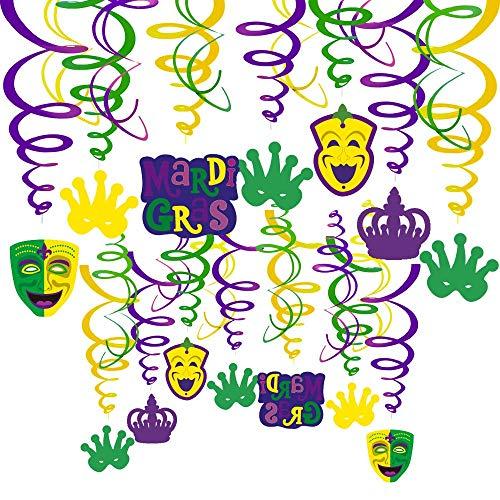 Sayala Karneval Hängen wirbelt, 30 Stück Mardi Gras Dekorationen Krone und Maske Ausschnitte hängen Dekor für Karneval